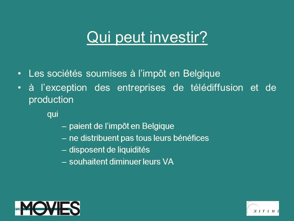 Qui peut investir? Les sociétés soumises à limpôt en Belgique à lexception des entreprises de télédiffusion et de production qui –paient de limpôt en