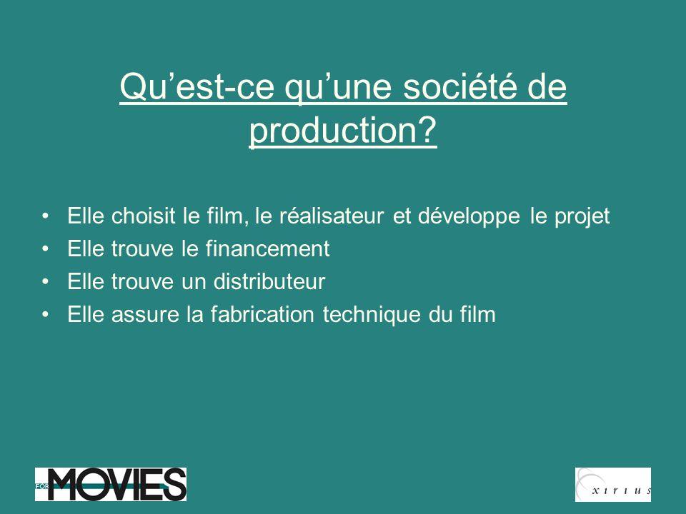 Quest-ce quune société de production? Elle choisit le film, le réalisateur et développe le projet Elle trouve le financement Elle trouve un distribute