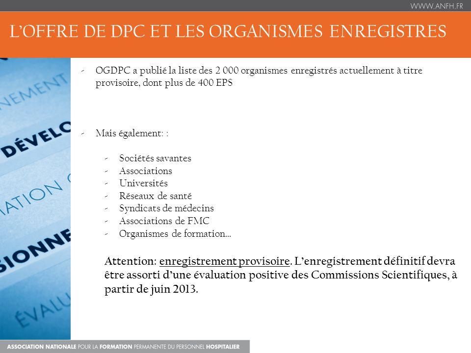 LOFFRE DE DPC ET LES ORGANISMES ENREGISTRES -OGDPC a publié la liste des 2 000 organismes enregistrés actuellement à titre provisoire, dont plus de 400 EPS -Mais également: : -Sociétés savantes -Associations -Universités -Réseaux de santé -Syndicats de médecins -Associations de FMC -Organismes de formation… Attention: enregistrement provisoire.
