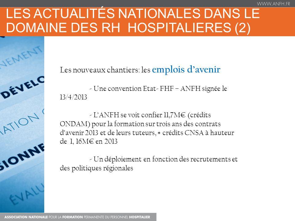 LES ACTUALITÉS NATIONALES DANS LE DOMAINE DES RH HOSPITALIERES (2) Les nouveaux chantiers: les emplois davenir - Une convention Etat- FHF – ANFH signée le 13/4/2013 - LANFH se voit confier 11,7M (crédits ONDAM) pour la formation sur trois ans des contrats davenir 2013 et de leurs tuteurs, + crédits CNSA à hauteur de 1, 16M en 2013 - Un déploiement en fonction des recrutements et des politiques régionales