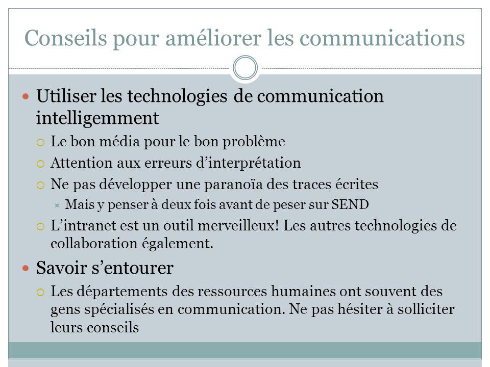 Conseils pour améliorer les communications Utiliser les technologies de communication intelligemment Le bon média pour le bon problème Attention aux e