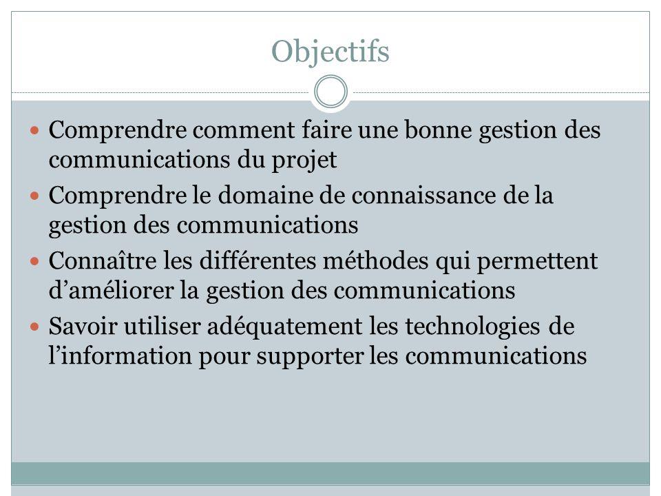 Objectifs Comprendre comment faire une bonne gestion des communications du projet Comprendre le domaine de connaissance de la gestion des communicatio