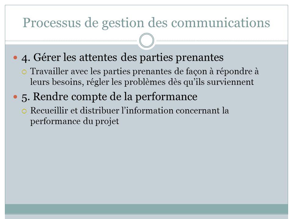Processus de gestion des communications 4. Gérer les attentes des parties prenantes Travailler avec les parties prenantes de façon à répondre à leurs