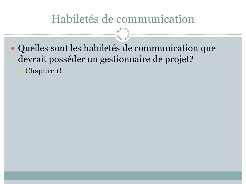 Habiletés de communication Quelles sont les habiletés de communication que devrait posséder un gestionnaire de projet? Chapitre 1!