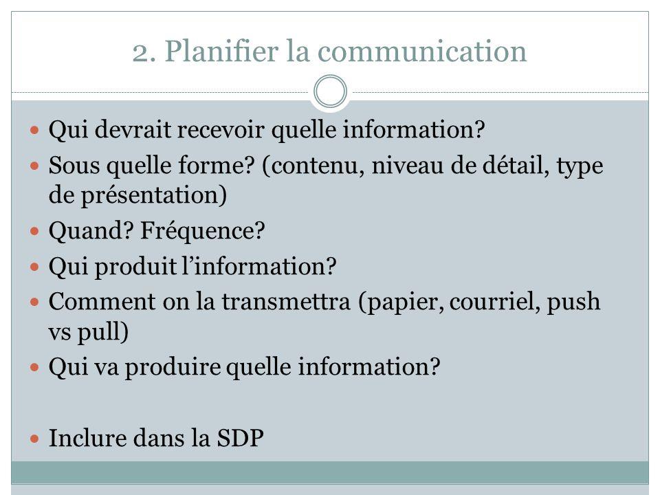 2. Planifier la communication Qui devrait recevoir quelle information? Sous quelle forme? (contenu, niveau de détail, type de présentation) Quand? Fré