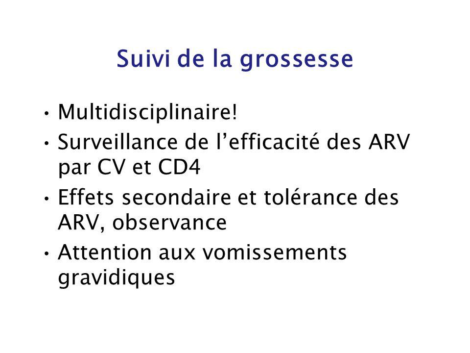 Suivi de la grossesse Multidisciplinaire! Surveillance de lefficacité des ARV par CV et CD4 Effets secondaire et tolérance des ARV, observance Attenti