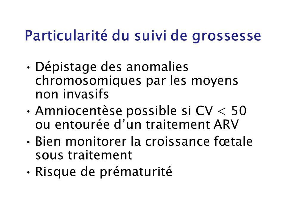 Particularité du suivi de grossesse Dépistage des anomalies chromosomiques par les moyens non invasifs Amniocentèse possible si CV < 50 ou entourée du