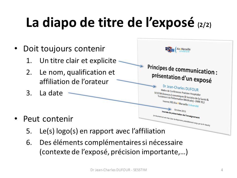 A propos de la qualification et de laffiliation Mentionner seulement : Jean DUPONT – Etudiant en master – Aix-Marseille Université est peu informatif, inutile pour lauditoire .