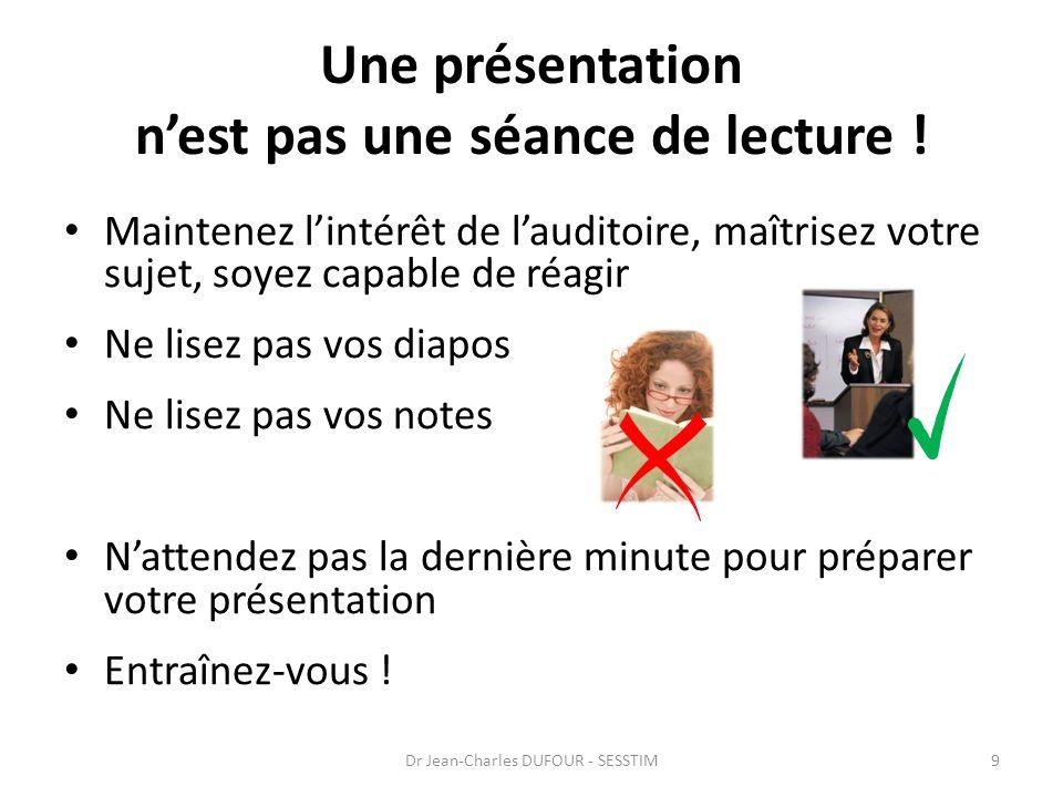 Une présentation nest pas une séance de lecture .