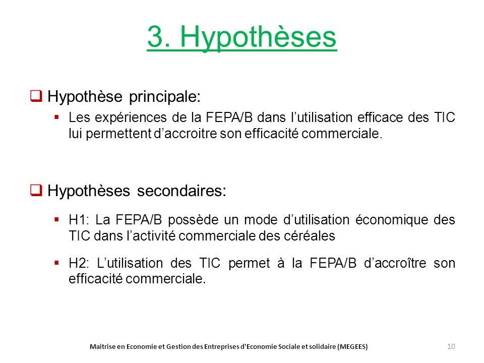 3. Hypothèses Hypothèse principale: Les expériences de la FEPA/B dans lutilisation efficace des TIC lui permettent daccroitre son efficacité commercia