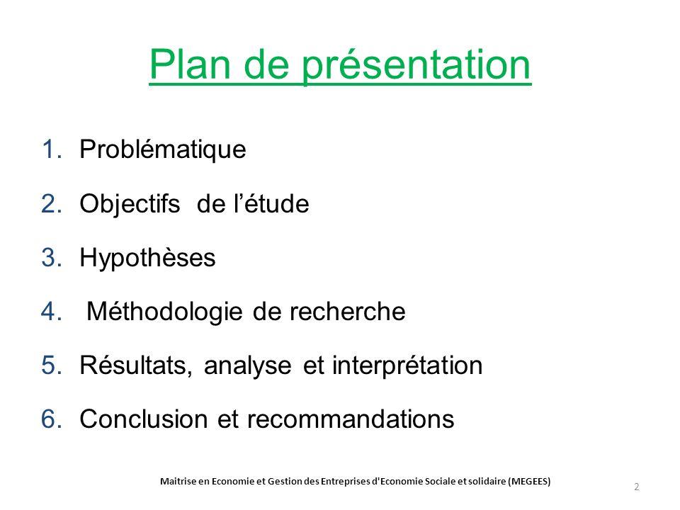 Plan de présentation 1.Problématique 2.Objectifs de létude 3.Hypothèses 4.