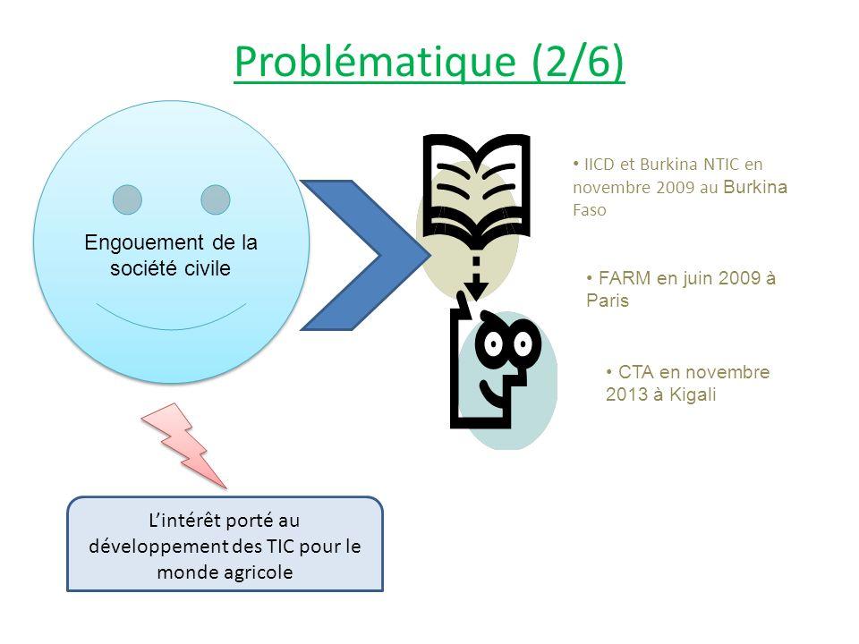 Problématique (2/6) Lintérêt porté au développement des TIC pour le monde agricole Engouement de la société civile IICD et Burkina NTIC en novembre 2009 au Burkina Faso FARM en juin 2009 à Paris CTA en novembre 2013 à Kigali