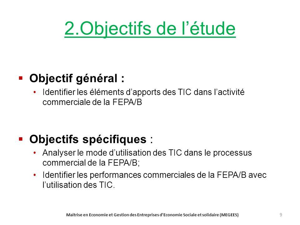 2.Objectifs de létude Objectif général : Identifier les éléments dapports des TIC dans lactivité commerciale de la FEPA/B Objectifs spécifiques : Analyser le mode dutilisation des TIC dans le processus commercial de la FEPA/B; Identifier les performances commerciales de la FEPA/B avec lutilisation des TIC.