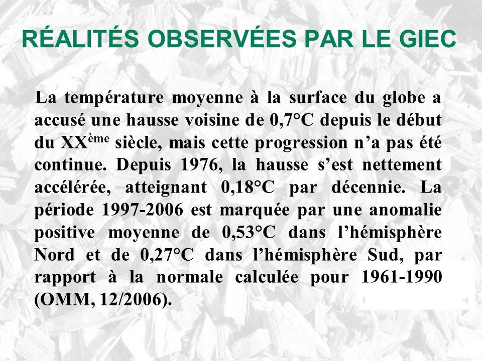 RÉALITÉS OBSERVÉES PAR LE GIEC La température moyenne à la surface du globe a accusé une hausse voisine de 0,7°C depuis le début du XX ème siècle, mais cette progression na pas été continue.
