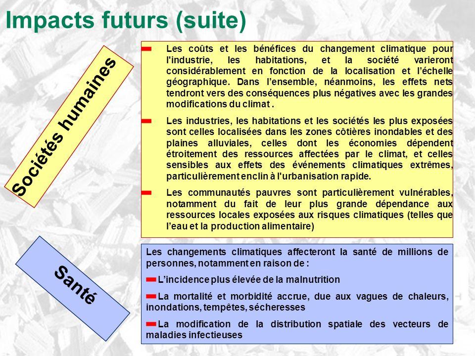 Impacts futurs (suite) Sociétés humaines Les coûts et les bénéfices du changement climatique pour l industrie, les habitations, et la société varieront considérablement en fonction de la localisation et léchelle géographique.