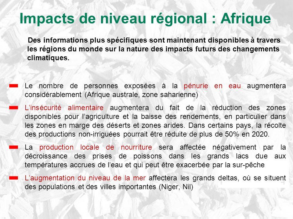 Impacts de niveau régional : Afrique Le nombre de personnes exposées à la pénurie en eau augmentera considérablement (Afrique australe, zone saharienn