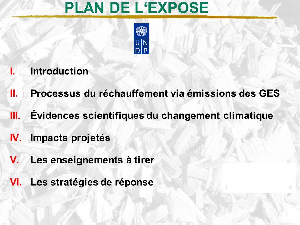 PLAN DE LEXPOSE I.Introduction II.Processus du réchauffement via émissions des GES III.Évidences scientifiques du changement climatique IV.Impacts projetés V.Les enseignements à tirer VI.Les stratégies de réponse