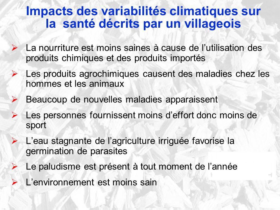 Impacts des variabilités climatiques sur la santé décrits par un villageois La nourriture est moins saines à cause de lutilisation des produits chimiq