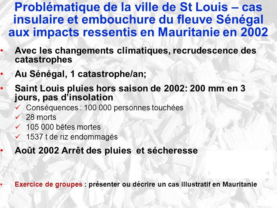 Avec les changements climatiques, recrudescence des catastrophes Au Sénégal, 1 catastrophe/an; Saint Louis pluies hors saison de 2002: 200 mm en 3 jou