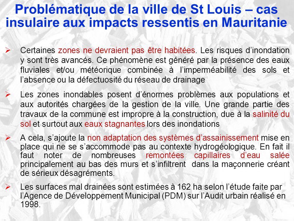 Problématique de la ville de St Louis – cas insulaire aux impacts ressentis en Mauritanie Certaines zones ne devraient pas être habitées. Les risques