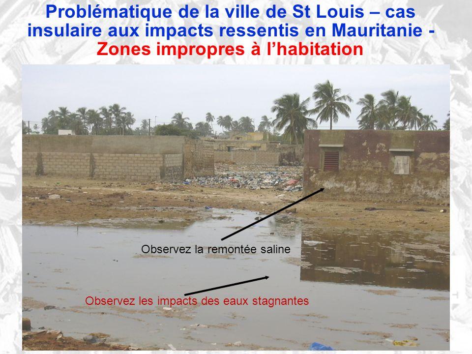 Problématique de la ville de St Louis – cas insulaire aux impacts ressentis en Mauritanie - Zones impropres à lhabitation Observez la remontée saline Observez les impacts des eaux stagnantes