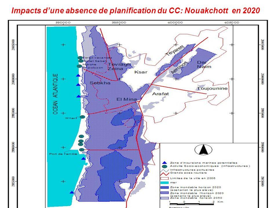 Impacts dune absence de planification du CC: Nouakchott en 2020