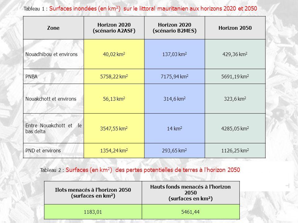 Zone Horizon 2020 (scénario A2ASF) Horizon 2020 (scénario B2MES) Horizon 2050 Nouadhibou et environs40,02 km 2 137,03 km 2 429,36 km 2 PNBA5758,22 km 2 7175,94 km 2 5691,19 km 2 Nouakchott et environs56,13 km 2 314,6 km 2 323,6 km 2 Entre Nouakchott et le bas delta 3547,55 km 2 14 km 2 4285,05 km 2 PND et environs1354,24 km 2 293,65 km 2 1126,25 km 2 Ilots menacés à lhorizon 2050 (surfaces en km 2 ) Hauts fonds menacés à lhorizon 2050 (surfaces en km 2 ) 1183,015461,44 Tableau 1 : Surfaces inond é es (en km 2 ) sur le littoral mauritanien aux horizons 2020 et 2050 Tableau 2 : Surfaces (en km 2 ) des pertes potentielles de terres à l horizon 2050