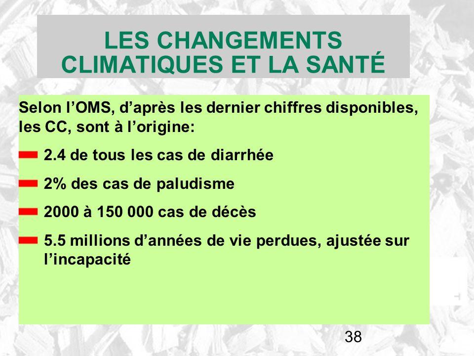 38 LES CHANGEMENTS CLIMATIQUES ET LA SANTÉ Selon lOMS, daprès les dernier chiffres disponibles, les CC, sont à lorigine: 2.4 de tous les cas de diarrh