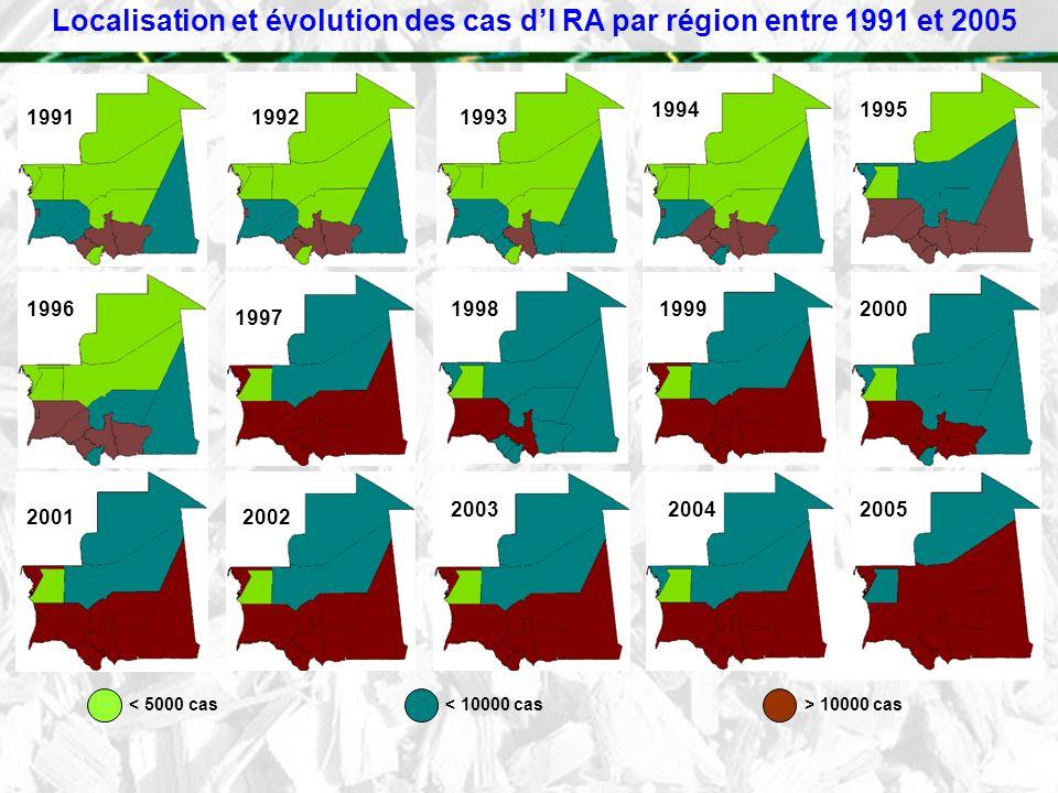 Localisation et évolution des cas dI RA par région entre 1991 et 2005 1991 19921993 199419951996 1997 199819992000 20012002 200320042005 < 5000 cas< 1