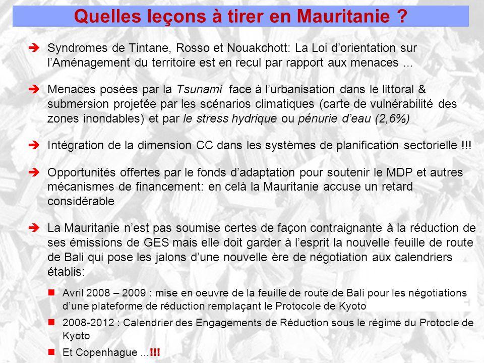 Quelles leçons à tirer en Mauritanie ? Syndromes de Tintane, Rosso et Nouakchott: La Loi dorientation sur lAménagement du territoire est en recul par