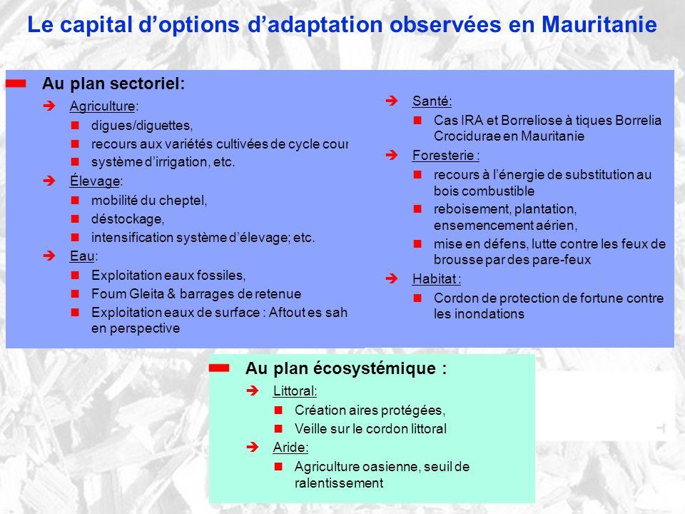 Le capital doptions dadaptation observées en Mauritanie Au plan sectoriel: Agriculture: digues/diguettes, recours aux variétés cultivées de cycle court, système dirrigation, etc.