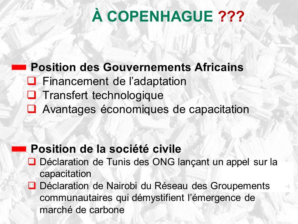 À COPENHAGUE ??? Position de la société civile Déclaration de Tunis des ONG lançant un appel sur la capacitation Déclaration de Nairobi du Réseau des