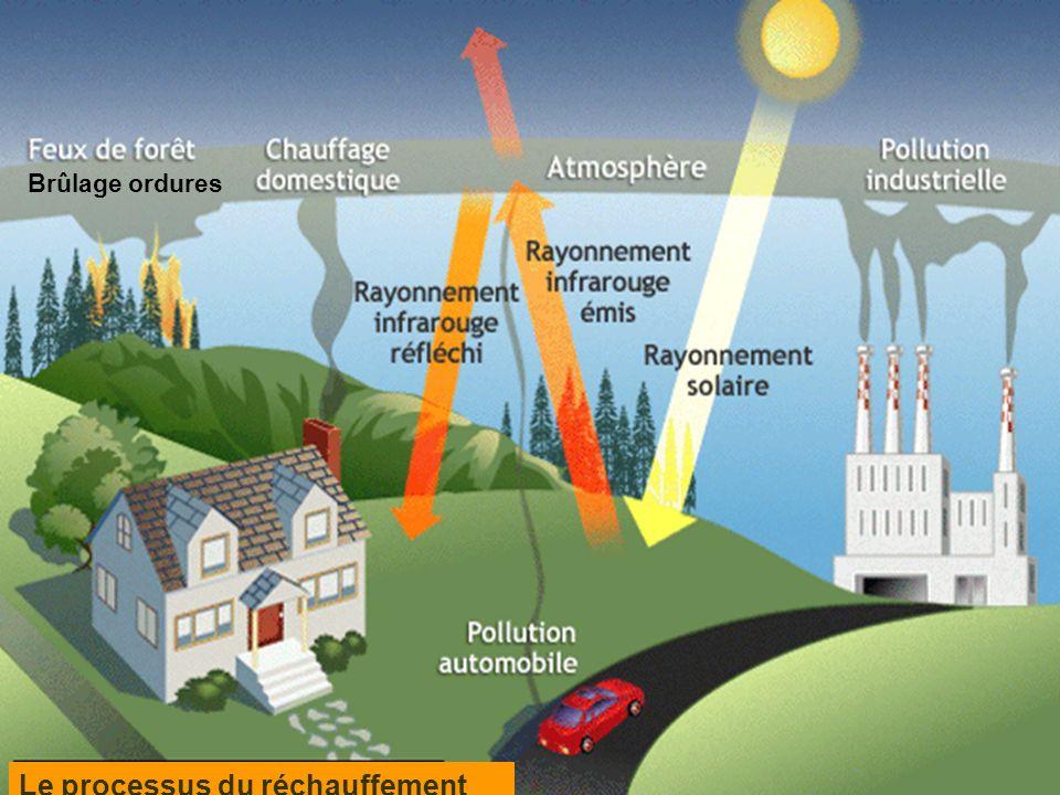 Brûlage ordures Le processus du réchauffement