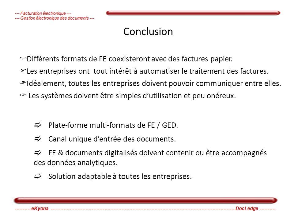 Conclusion Différents formats de FE coexisteront avec des factures papier.