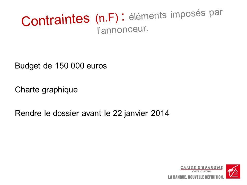 Contraintes (n.F) : éléments imposés par lannonceur. Budget de 150 000 euros Charte graphique Rendre le dossier avant le 22 janvier 2014