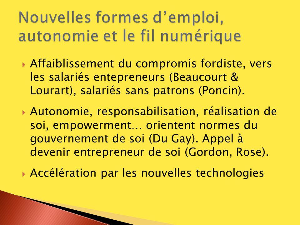 Affaiblissement du compromis fordiste, vers les salariés entepreneurs (Beaucourt & Lourart), salariés sans patrons (Poncin). Autonomie, responsabilisa