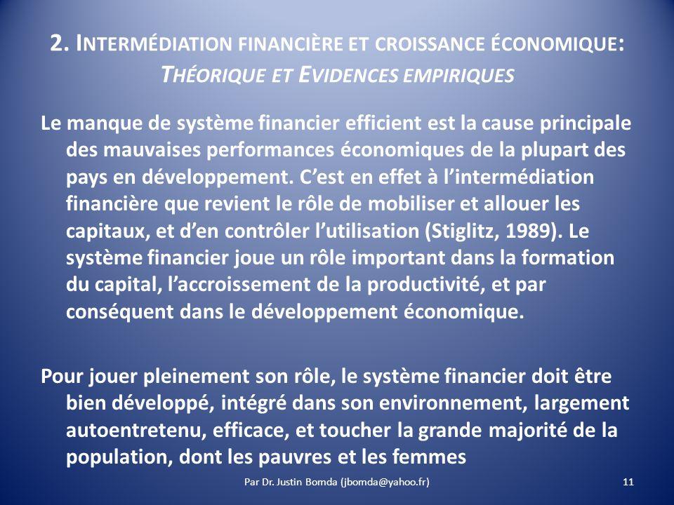 2. I NTERMÉDIATION FINANCIÈRE ET CROISSANCE ÉCONOMIQUE : T HÉORIQUE ET E VIDENCES EMPIRIQUES Le manque de système financier efficient est la cause pri