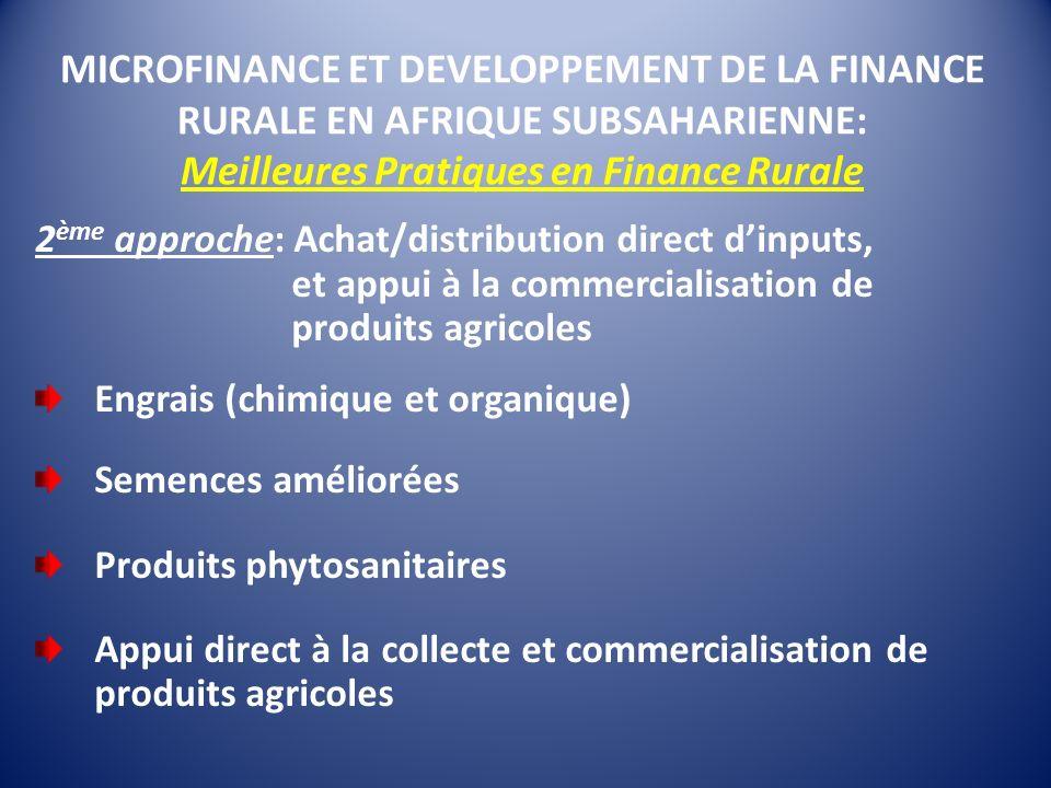 MICROFINANCE ET DEVELOPPEMENT DE LA FINANCE RURALE EN AFRIQUE SUBSAHARIENNE: Meilleures Pratiques en Finance Rurale 2 ème approche: Achat/distribution