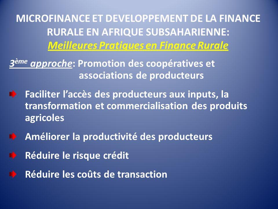 MICROFINANCE ET DEVELOPPEMENT DE LA FINANCE RURALE EN AFRIQUE SUBSAHARIENNE: Meilleures Pratiques en Finance Rurale 3 ème approche: Promotion des coop