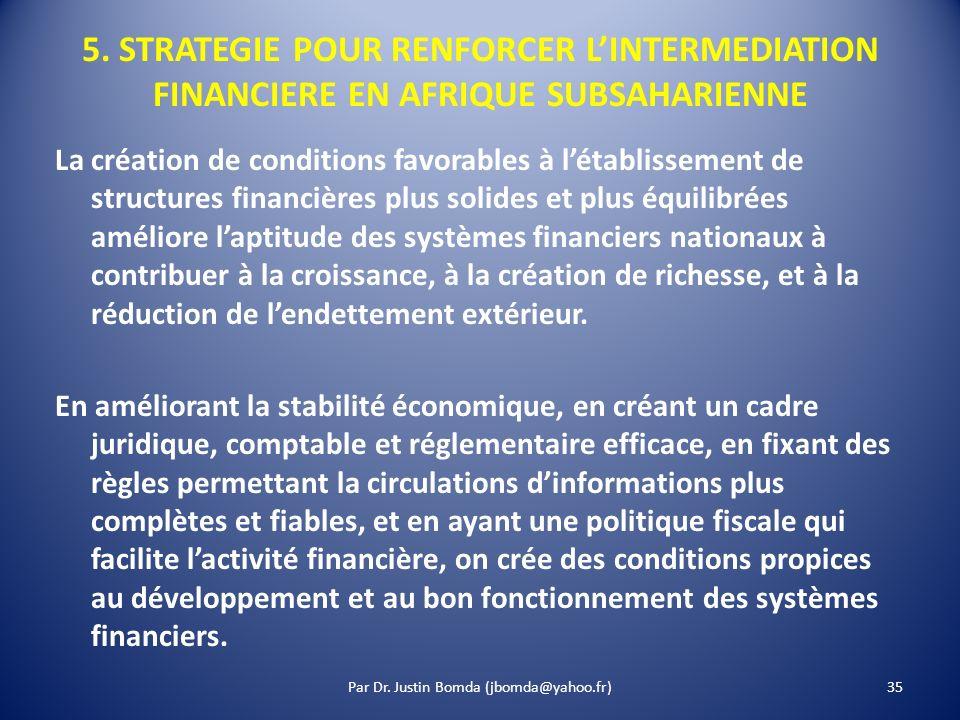 5. STRATEGIE POUR RENFORCER LINTERMEDIATION FINANCIERE EN AFRIQUE SUBSAHARIENNE La création de conditions favorables à létablissement de structures fi