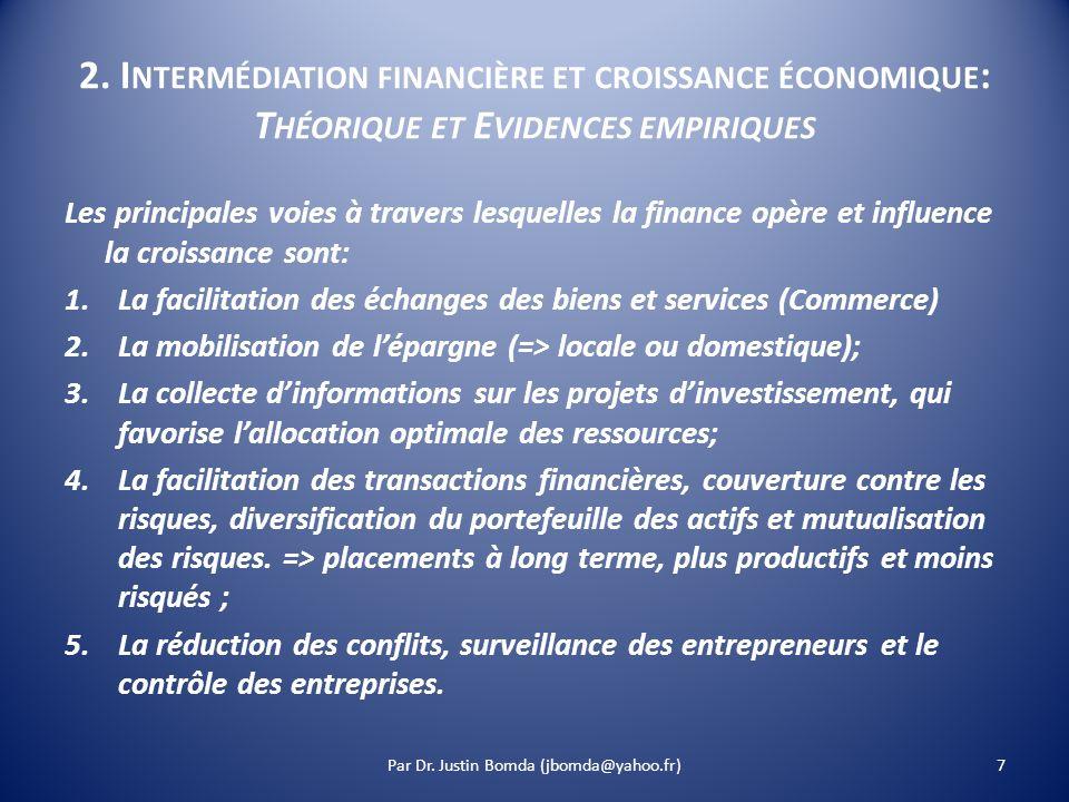 2. I NTERMÉDIATION FINANCIÈRE ET CROISSANCE ÉCONOMIQUE : T HÉORIQUE ET E VIDENCES EMPIRIQUES Les principales voies à travers lesquelles la finance opè