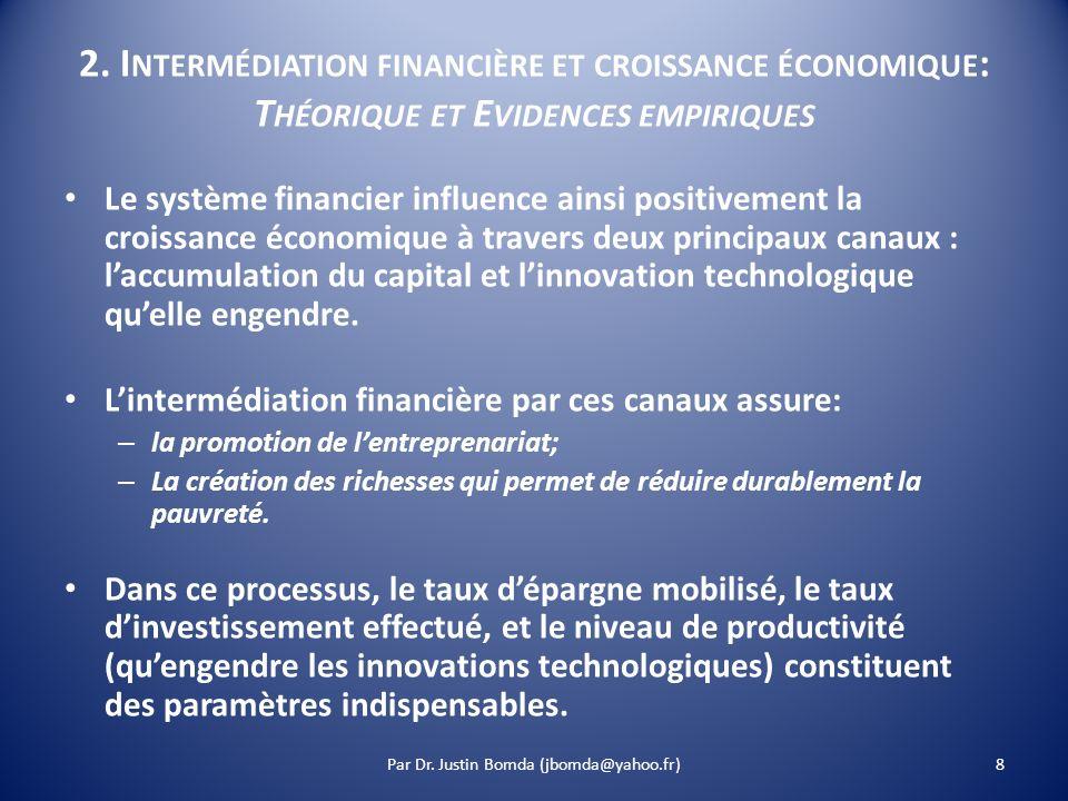 2. I NTERMÉDIATION FINANCIÈRE ET CROISSANCE ÉCONOMIQUE : T HÉORIQUE ET E VIDENCES EMPIRIQUES Le système financier influence ainsi positivement la croi