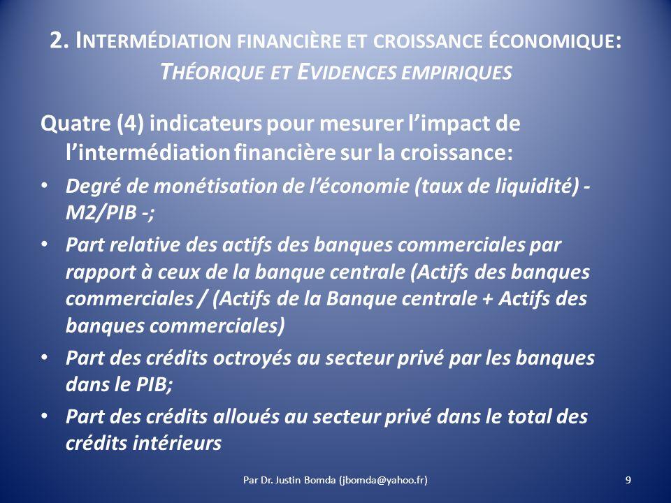 2. I NTERMÉDIATION FINANCIÈRE ET CROISSANCE ÉCONOMIQUE : T HÉORIQUE ET E VIDENCES EMPIRIQUES Quatre (4) indicateurs pour mesurer limpact de lintermédi
