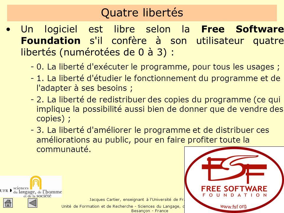 Jacques Cartier, enseignant à lUniversité de Franche-Comté Unité de Formation et de Recherche - Sciences du Langage, de lHomme et de la Société Besançon - France Quest-ce quun logiciel .