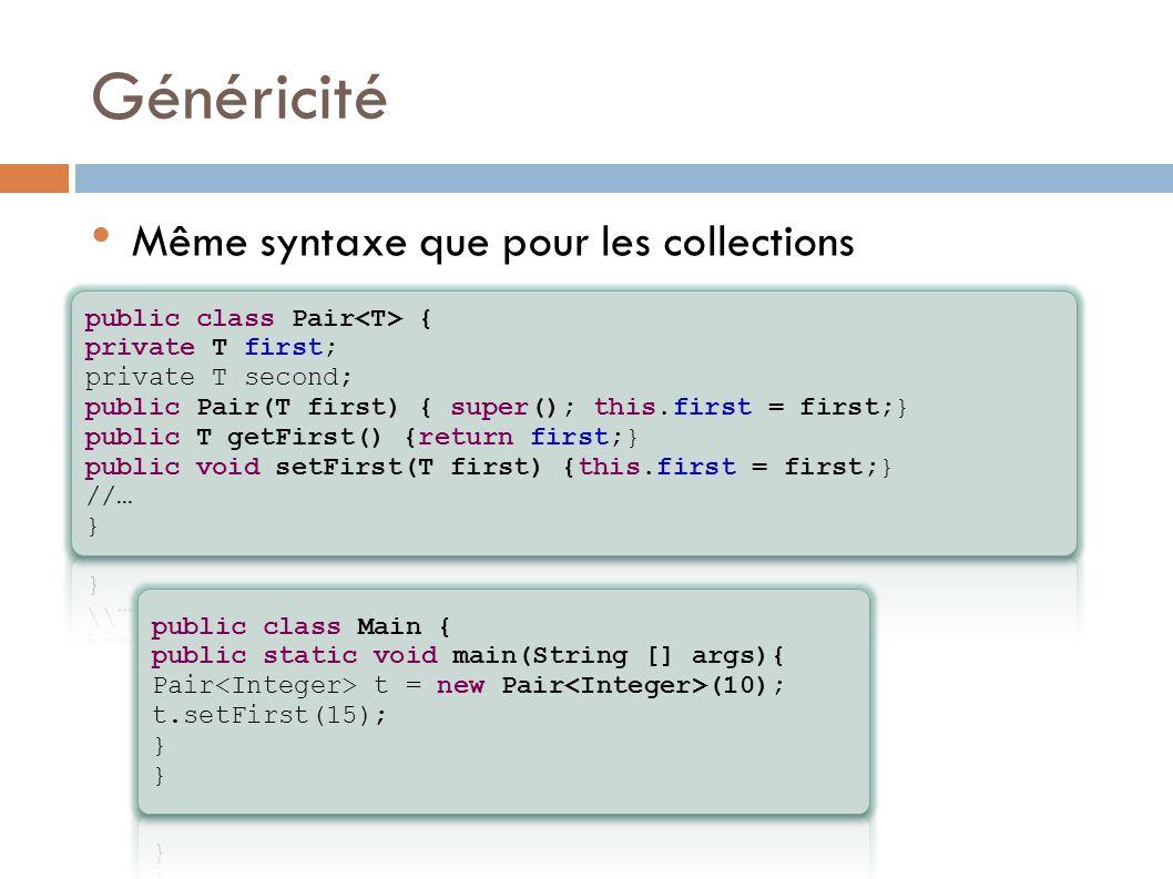 Généricité Même syntaxe que pour les collections
