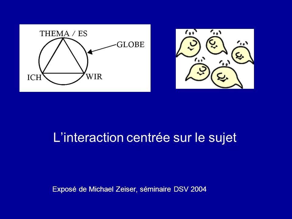 Linteraction centrée sur le sujet Exposé de Michael Zeiser, séminaire DSV 2004