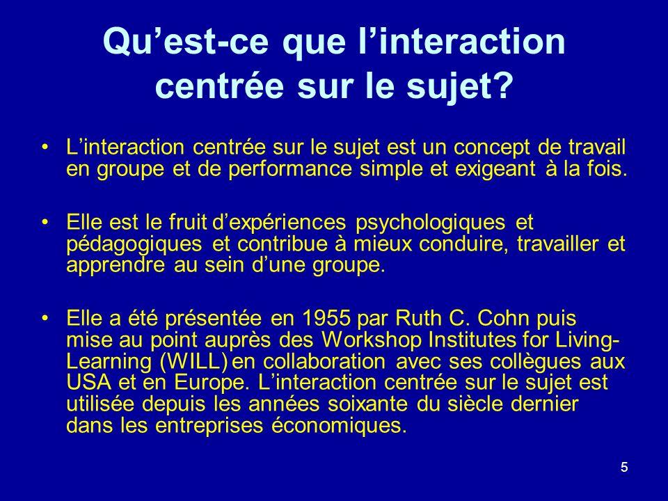5 Quest-ce que linteraction centrée sur le sujet? Linteraction centrée sur le sujet est un concept de travail en groupe et de performance simple et ex