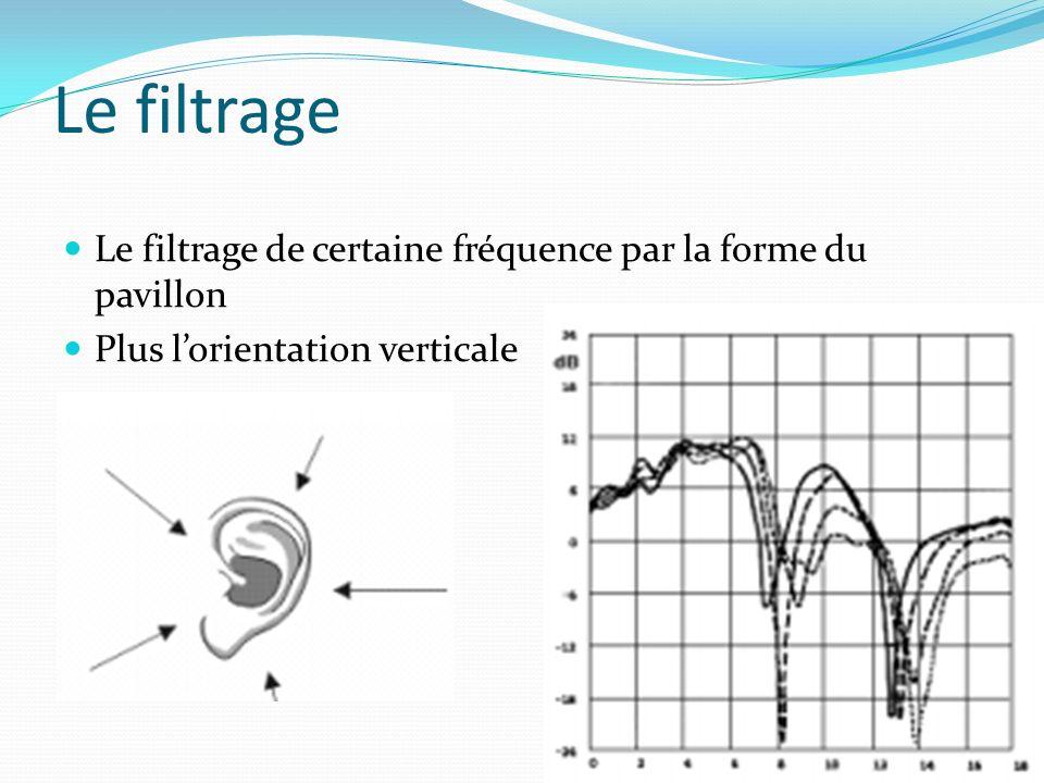 Le filtrage Le filtrage de certaine fréquence par la forme du pavillon Plus lorientation verticale