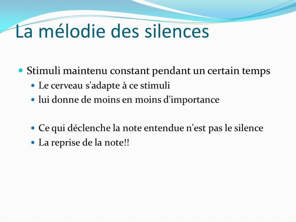 La mélodie des silences Stimuli maintenu constant pendant un certain temps Le cerveau s'adapte à ce stimuli lui donne de moins en moins d'importance C