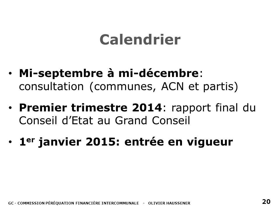 Calendrier Mi-septembre à mi-décembre: consultation (communes, ACN et partis) Premier trimestre 2014: rapport final du Conseil dEtat au Grand Conseil 1 er janvier 2015: entrée en vigueur GC - COMMISSION PÉRÉQUATION FINANCIÈRE INTERCOMMUNALE - OLIVIER HAUSSENER 20